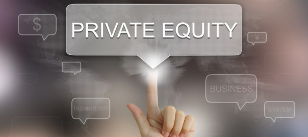 hand pushing on private equity balloon text button